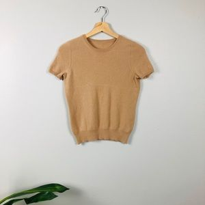TSE 100% cashmere tan short sleeve shirt small